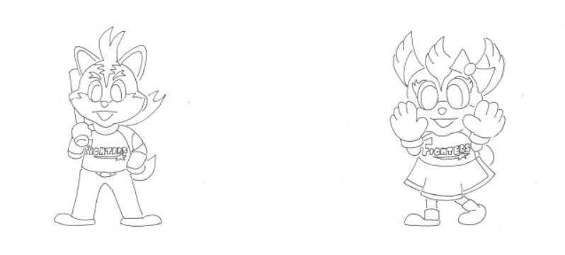 木田画伯のマスコットぬり絵