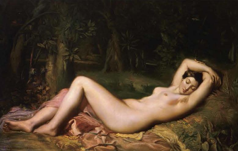 《泉のほとりで眠るニンフ》 テオドール・シャセリオー 1850年 CNAP(アヴィニョン、カルヴェ美術館に寄託) ©Domaine public / Cnap /photo: Musée Calvet, Avignon, France