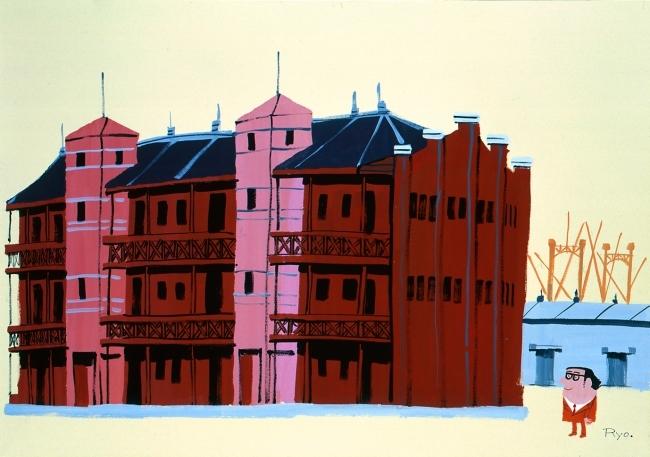 柳原良平 《新港埠頭赤煉瓦倉庫》 1978年 ポスターカラー、紙 72.2×102.5cm
