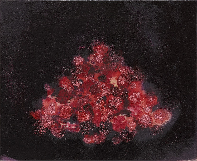 Chardin Fraises des bois 2017-2018 glitter, oil on canvas 22.5 x 27.2 cm (C)Midori Sato