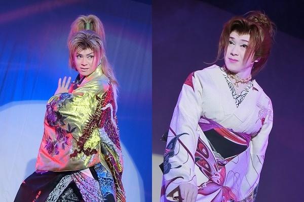 澤村千夜座長立ち・女形。鋭い男と、たおやかな女のギャップが印象的だ。(ともに2016/10/1)