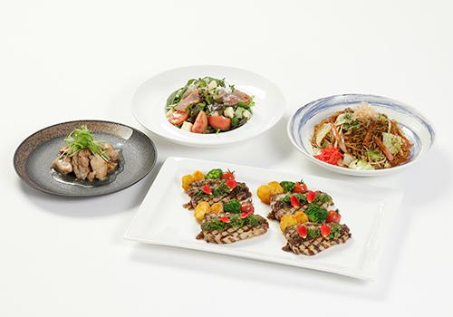 「とびうめ豚のグリル ヴィオレマスタードソース」など、食事メニューも用意される