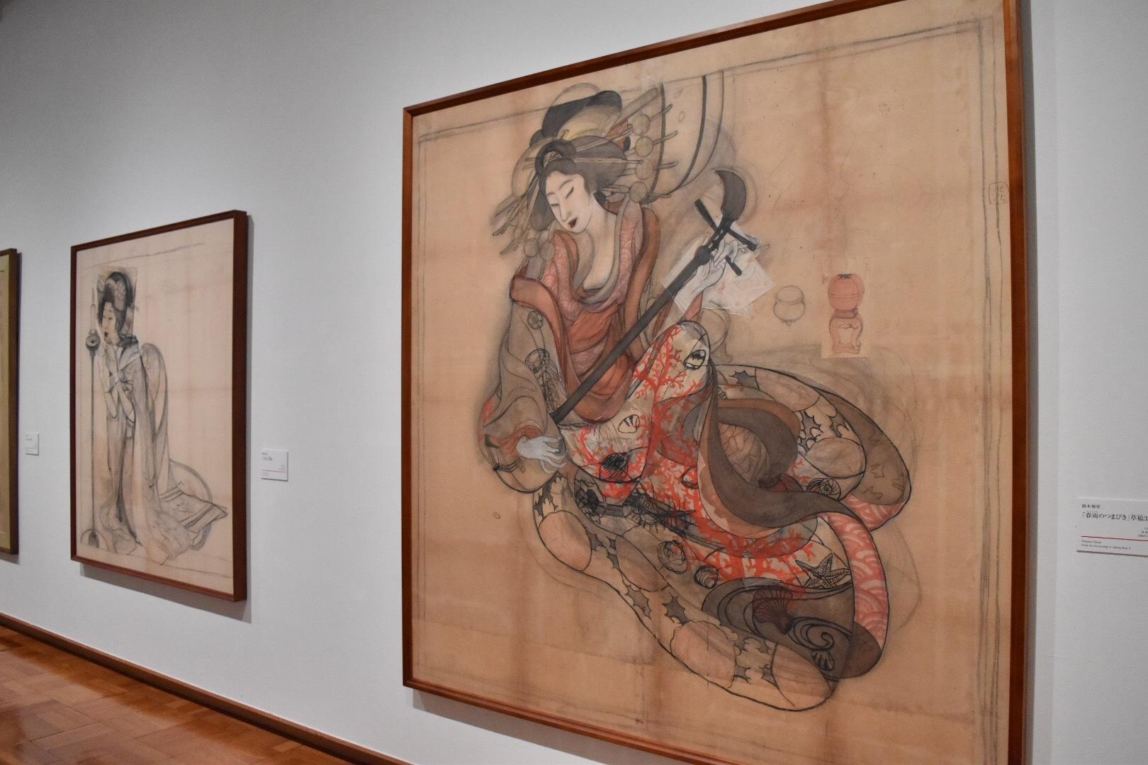 左:岡本神草 「口紅」草稿 大正7(1918)年 京都国立近代美術館 右:岡本神草 「春雨のつまびき」草稿3 大正6(1917)年 京都国立近代美術館