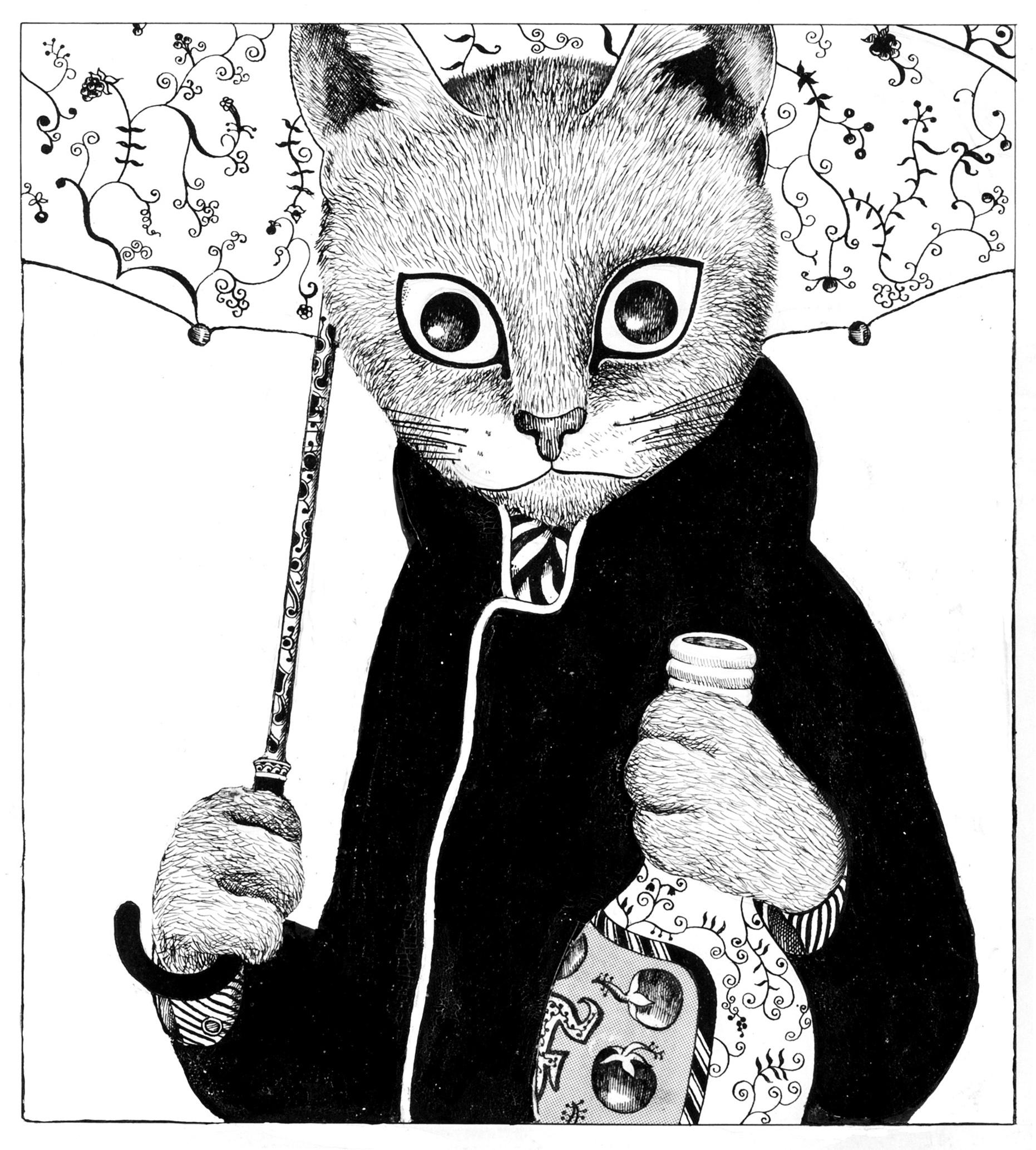ますむらひろし《酔いどれ鉄の肖像》1976年発表 (C)ますむら・ひろし