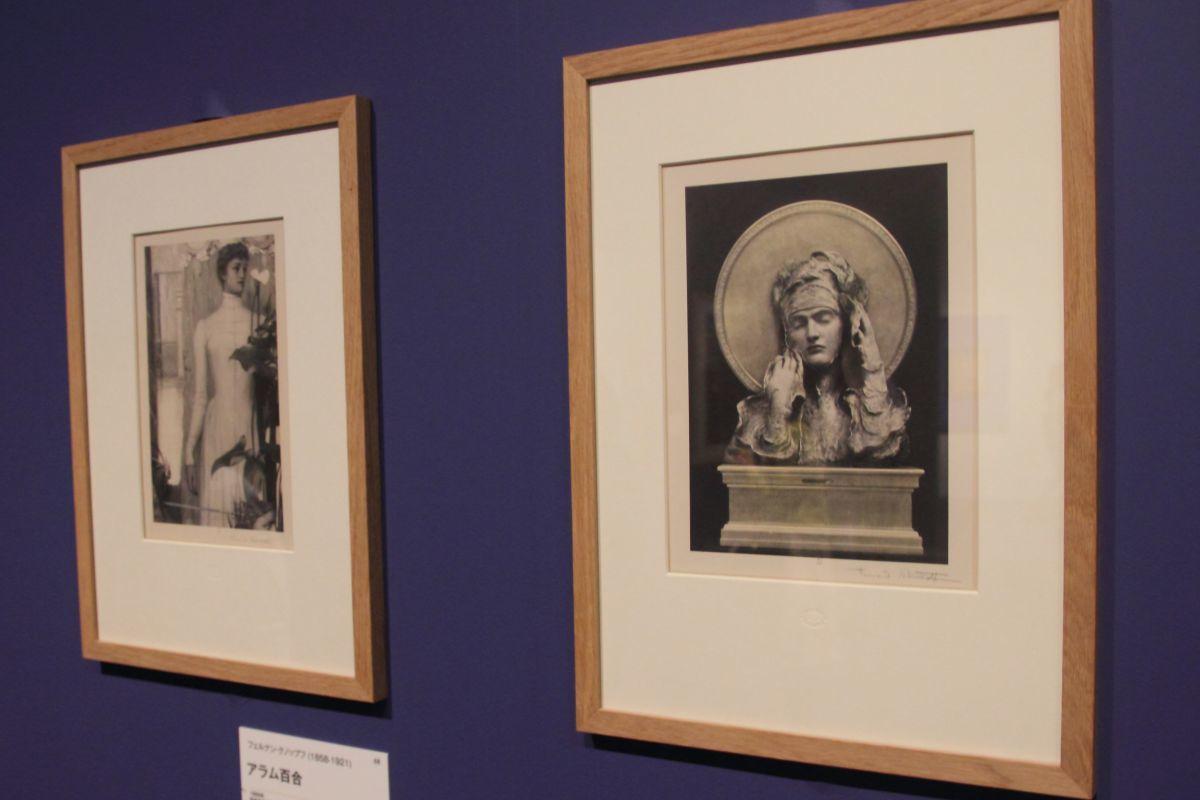 左:フェルナン・クノップフ《アラム百合》1895年、彩色写真(撮影:アレクサンドル) 右:同《巫女(シビュラ)》1894年、彩色写真(撮影:アレクサンドル) どちらもベルギー王立図書館、ブリュッセル