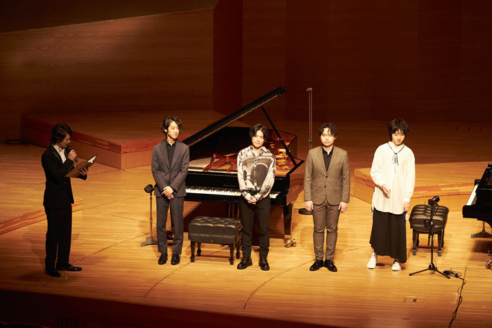 左から 日野真一郎(LE VELVETS)、角野隼斗、大井健、髙木竜馬、紀平凱成