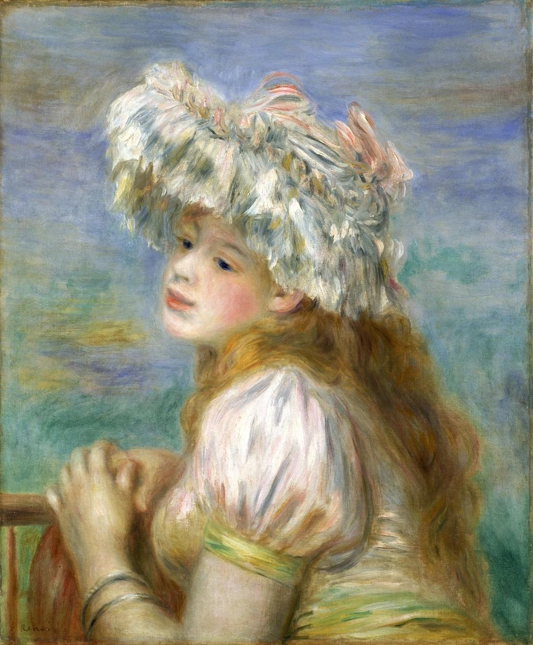 ピエール・オーギュスト・ルノワール《レースの帽子の少女》 1891年 ポーラ美術館蔵