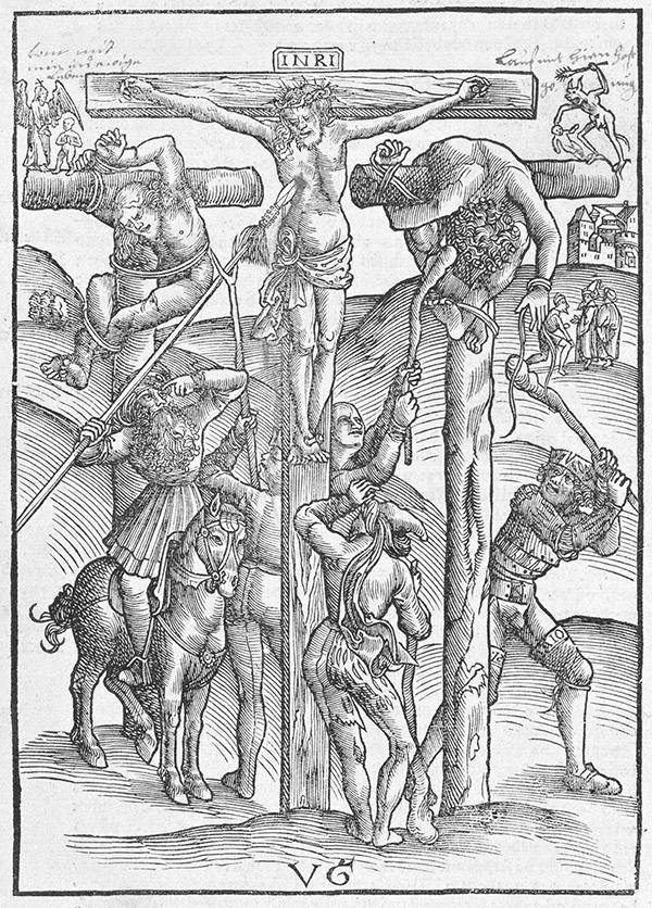 ウルス・グラーフ《百卒長のいるキリスト磔刑》1506年頃 木版 21.8×15.5cm 横浜美術館蔵