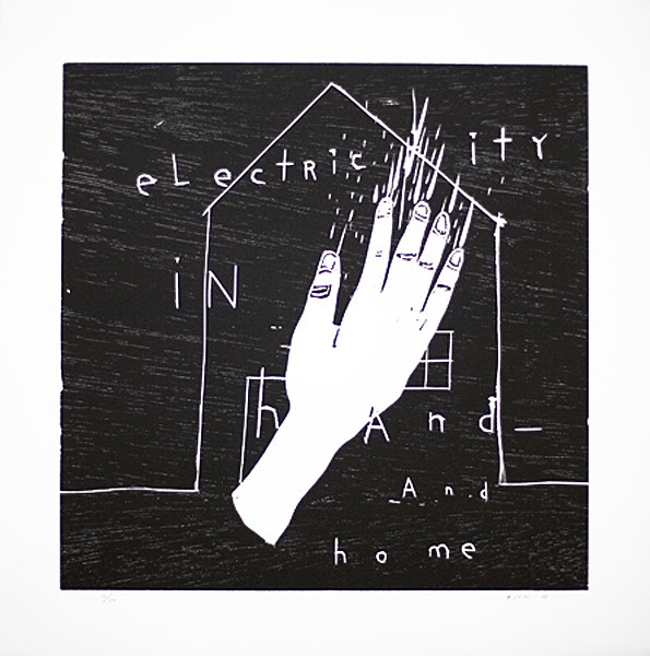 """Electricity in Hand and Home""  2010  wood cut  h.50.0 x w.50.0cm  ©David Lynch, Courtesy Item Editions"