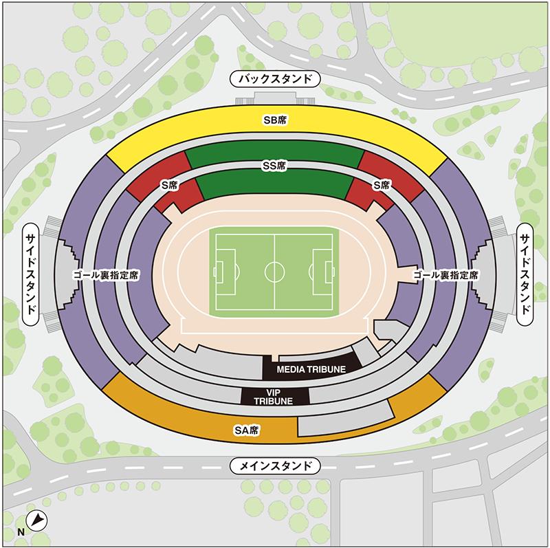 スタジアムの座席マップ
