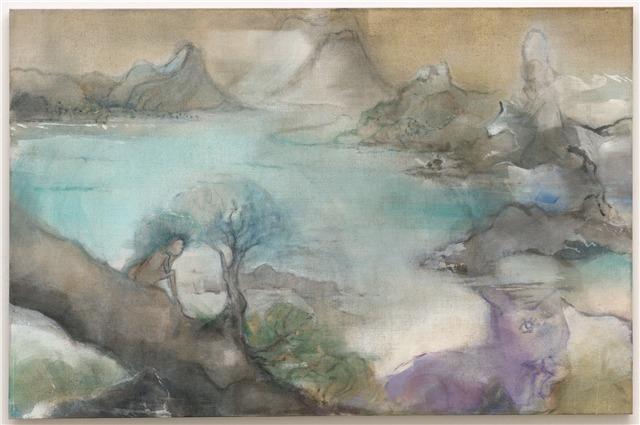 Leiko Ikemura, Genesis I, 2015, tempera on jute, 190 x 290 cm