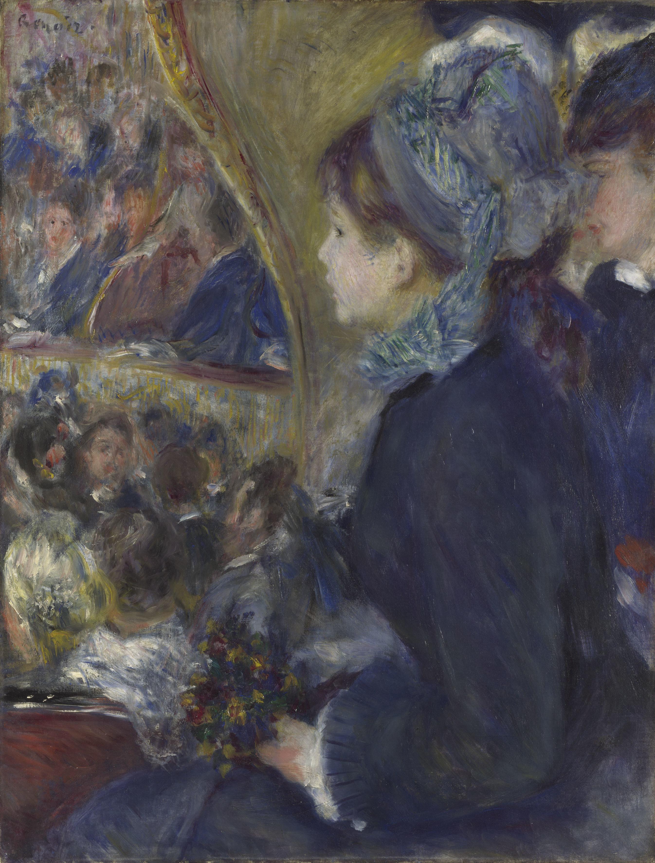 ピエール=オーギュスト・ルノワール 《劇場にて(初めてのお出かけ)》 1876-77年 油彩・カンヴァス 65×49.5cm  (C)The National Gallery, London. Bought, Courtauld Fund, 1923