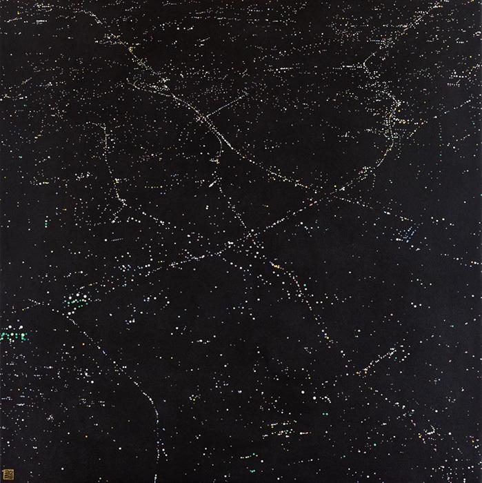 阪本トクロウ『夜景』2016年 アクリル、麻紙 72.7×72.7cm ©Tokuro Sakamoto
