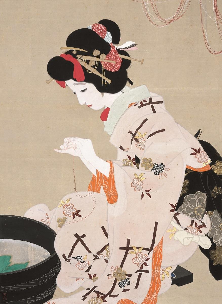 北野恒富《願いの糸》大正3年(1914) 木下美術館