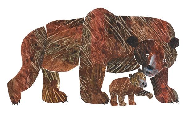 『こぐまくん こぐまくん なに みているの?』表紙原画、2006年、エリック・カール絵本美術館  © 2007 Eric Carle