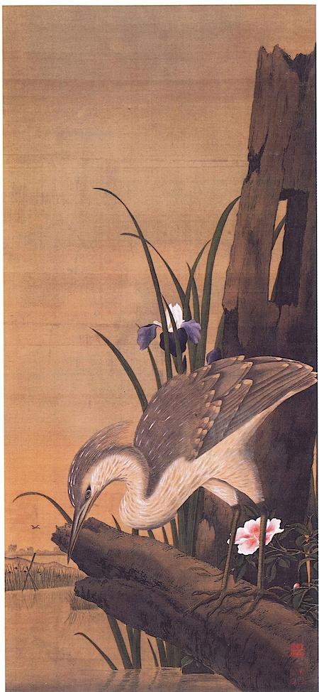 小野田直武《鷲図》歸空庵  大きく描かれたサギは、足や羽根まで細かく描かれ今にも飛び出しそう。遠景を極端に小さく描く秋田蘭画の代表作