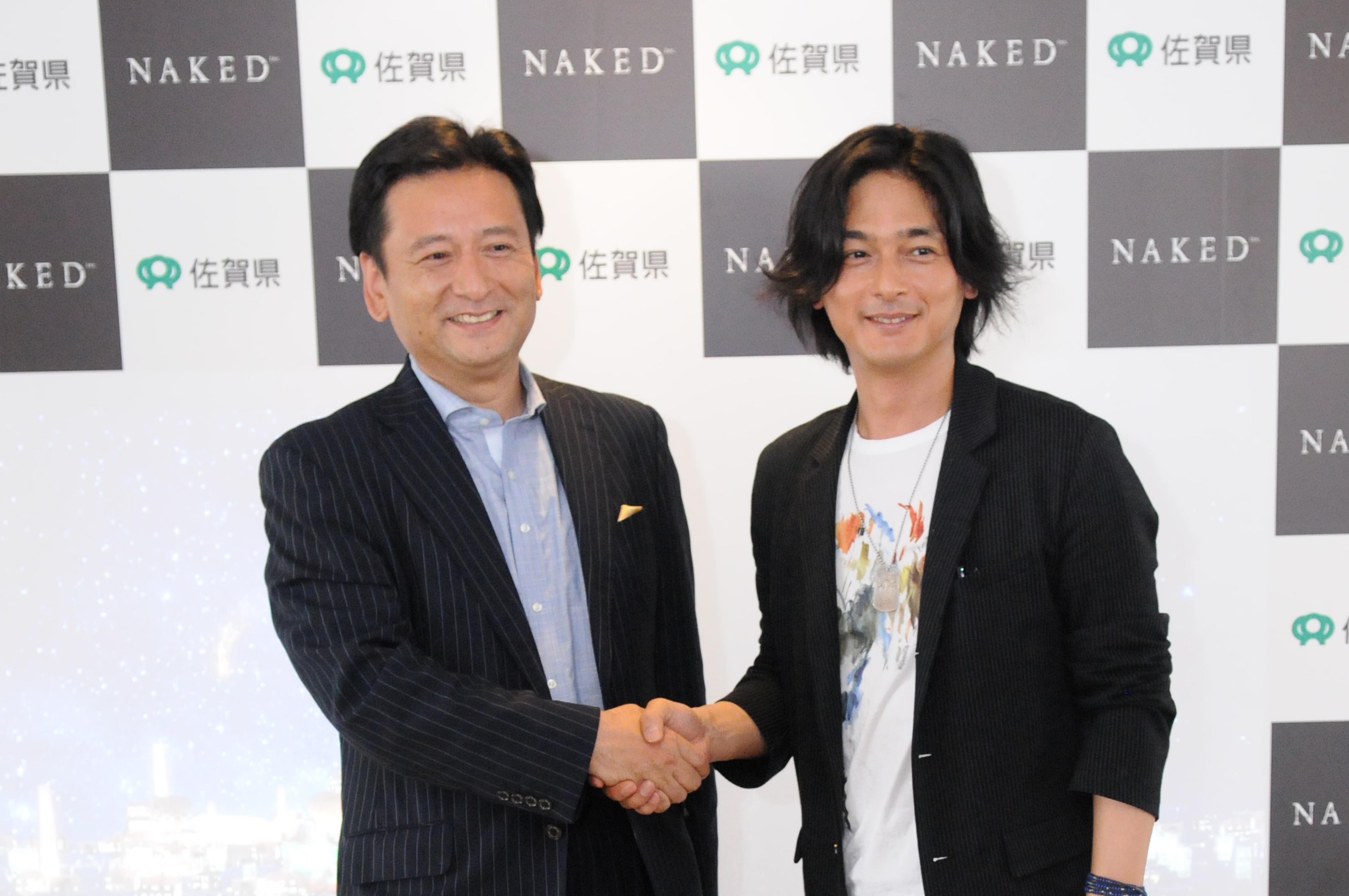 左から、佐賀県知事 ⼭口祥義⽒、株式会社NAKED代表 村松亮亮太郎