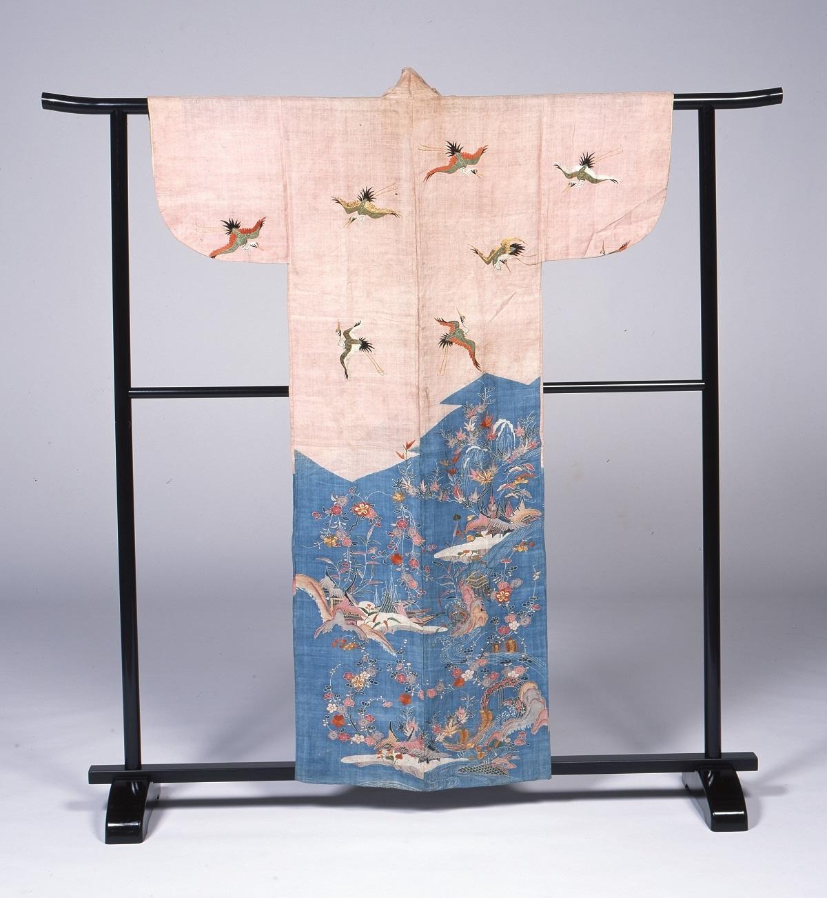 「染分麻地水辺風景鶴模様帷子」江戸時代・18世紀 江戸東京博物館蔵