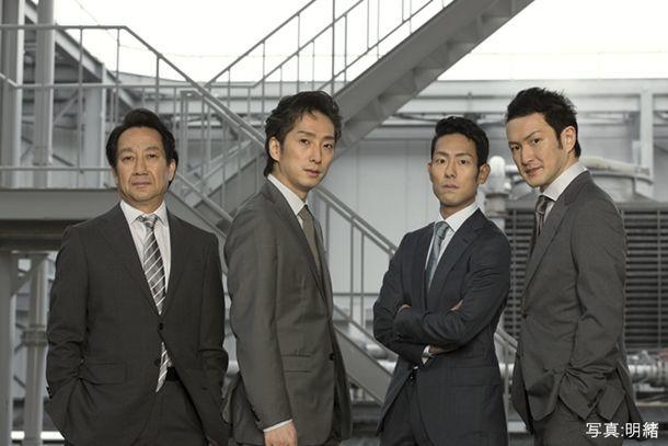 「渋谷・コクーン歌舞伎 第十五弾『四谷怪談』」より、左から中村扇雀、中村七之助、中村勘九郎、中村獅童。