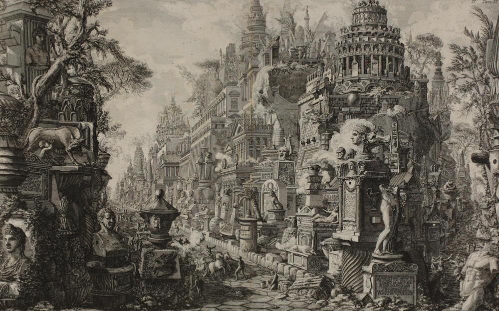 ジョヴァンニ・バッティスタ・ピラネージ《古代アッピア街道とアルデアティーナ街道の交差点》『ローマの古代遺跡』より 1756 年刊 町田市立国際版画美術館