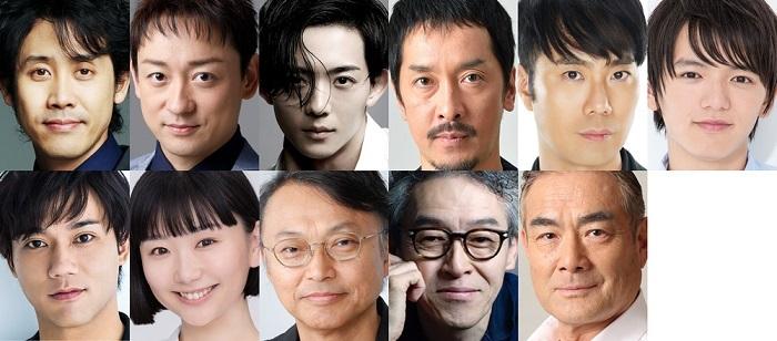 (上段左から)大泉洋、山本耕史、竜星涼、栗原英雄、藤井隆、濱田龍臣(下段左から)小澤雄太、まりゑ、相島一之、浅野和之、辻萬長