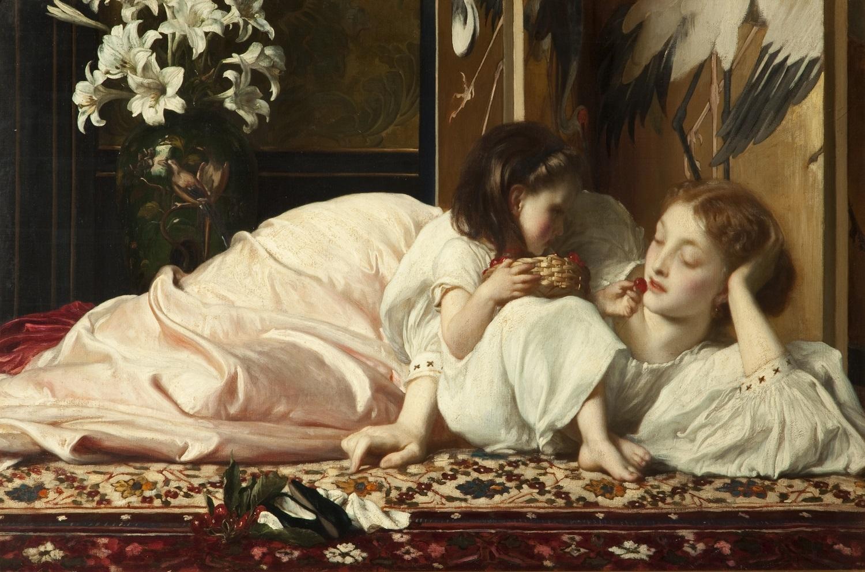 フレデリック・レイトン《母と子(サクランボ)》1864-65年頃、油彩/カンヴァス、48.2×82 cm、 ブラックバーン美術館 (C) Blackburn Museum and Art Gallery