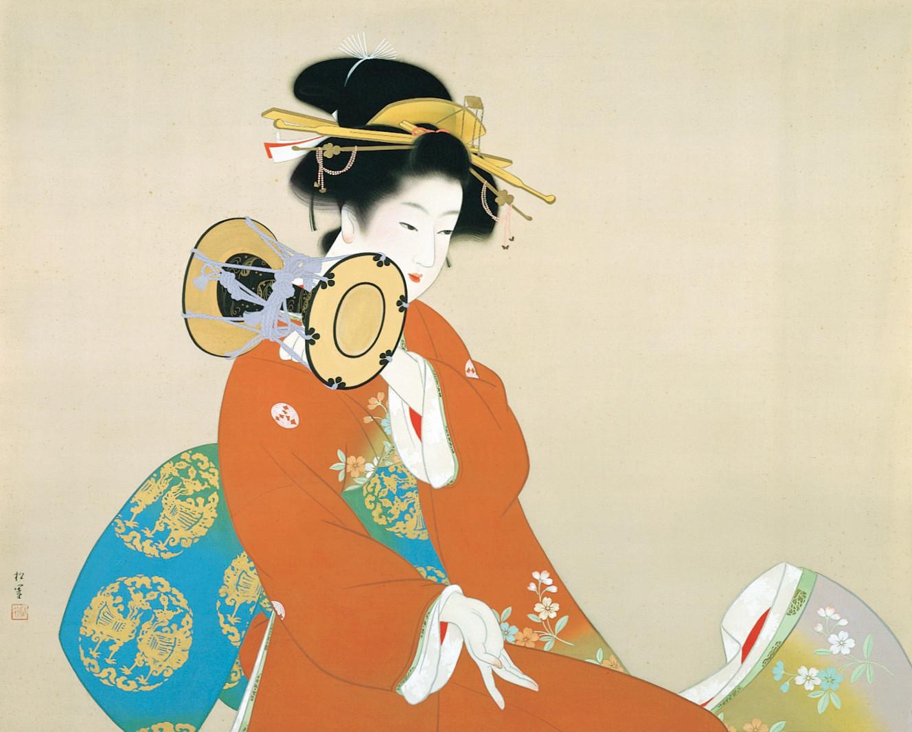 上村松園《鼓の音》 昭和15年(1940) 77.0×95.7 松伯美術館蔵
