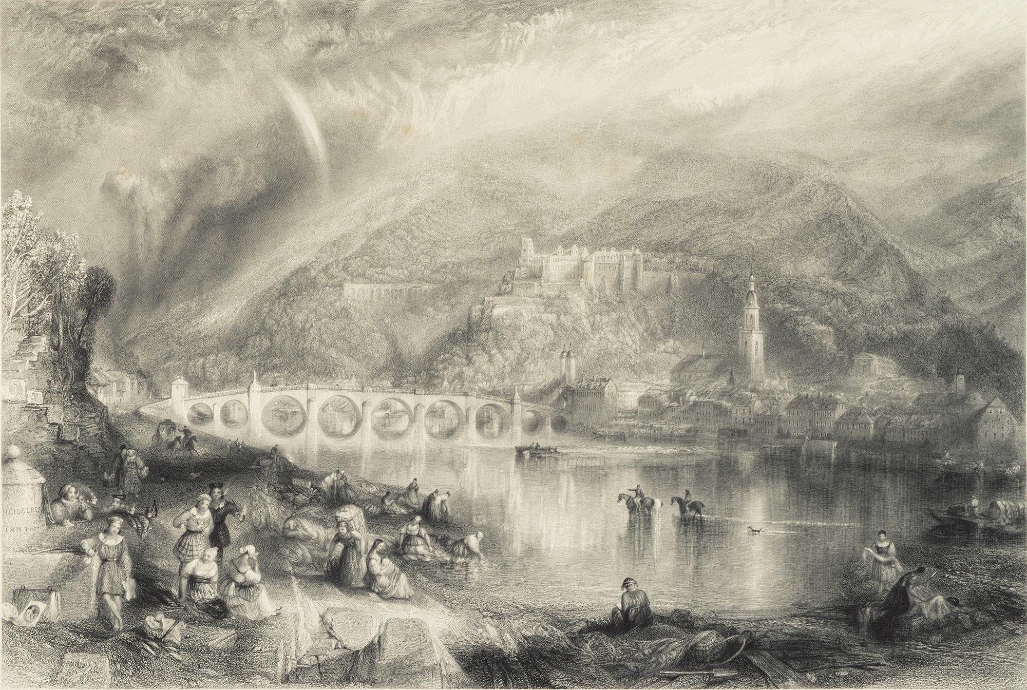 《ネッカー川対岸から見たハイデルベルク》 1846年 エッチング、ライン・エングレーヴィング 36.6×54.1cm 郡山市立美術館