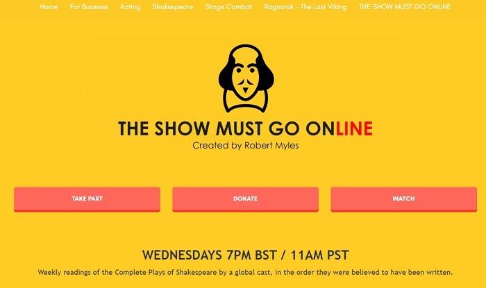 『The Show Must Go Online』ホームページより