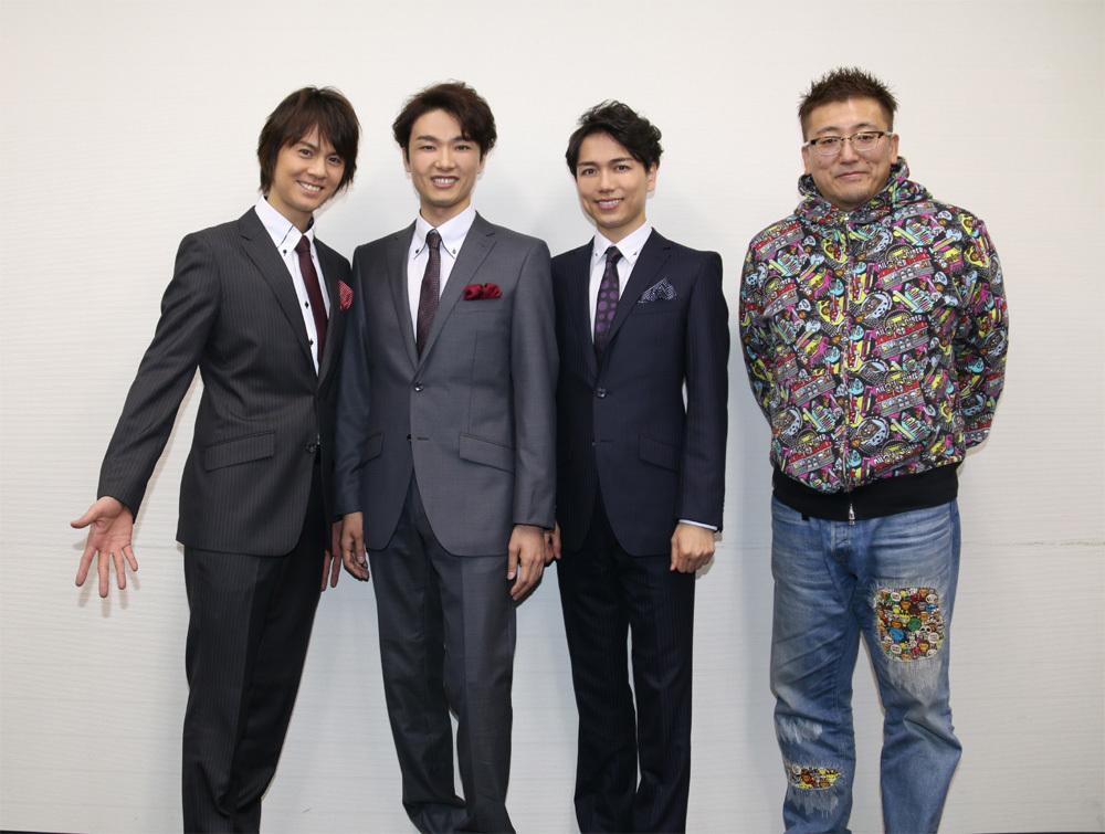 (左から)浦井健治、井上芳雄、山崎育三郎、福田雄一「トライベッカ」