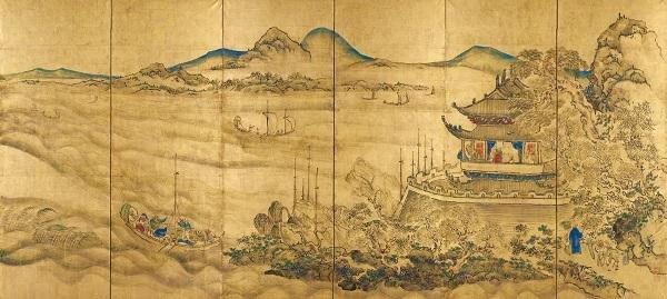 国宝 楼閣山水図屏風(右隻) 東京国立博物館