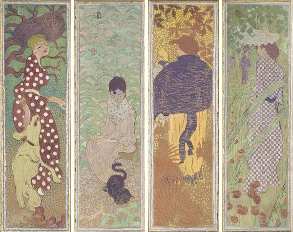 ピエール・ボナール《庭の女性たち》1890-91年 デトランプ、カンヴァスに貼り付けた紙(4点組装飾パネル) 160.5×48cm(各) オルセー美術館  (C)RMN-Grand Palais (musée d'Orsay) / Hervé Lewandowski / distributed by AMF