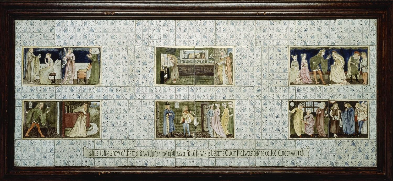 モリス・マーシャル・フォークナー商会《シンデレラ(連作タイル画)――「灰かぶり」と呼ばれていた娘がガラスの靴を与えられ、やがて王女となる物語》1863-64年、6枚の錫釉陶器タイルからなるパネル、56×138 cm、リヴァプール国立美術館、 ウォーカー・アート・ギャラリー (C) National Museums Liverpool, Walker Art Gallery