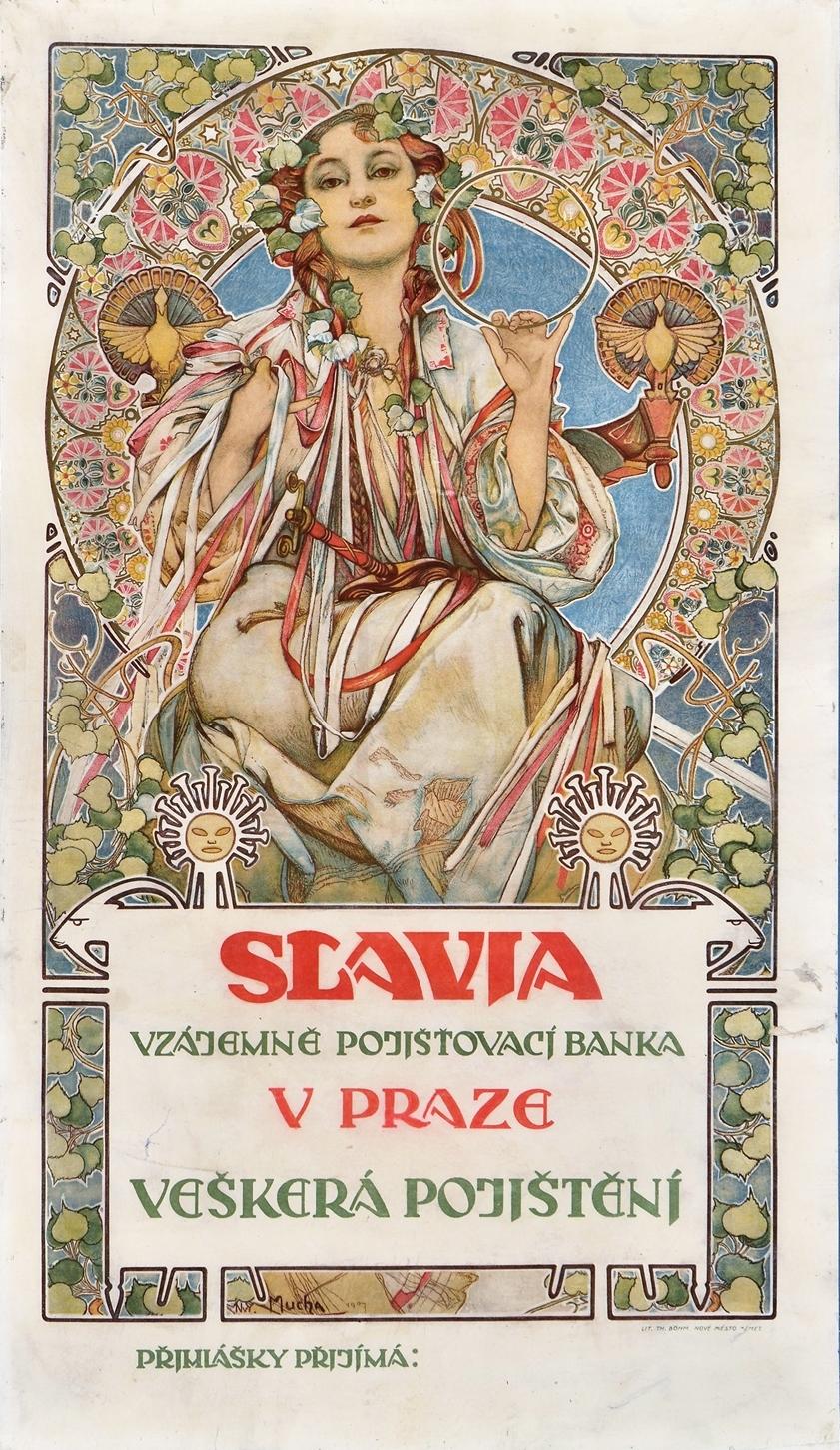 ポスター《スラヴィア保険会社》1907年 リトグラフ