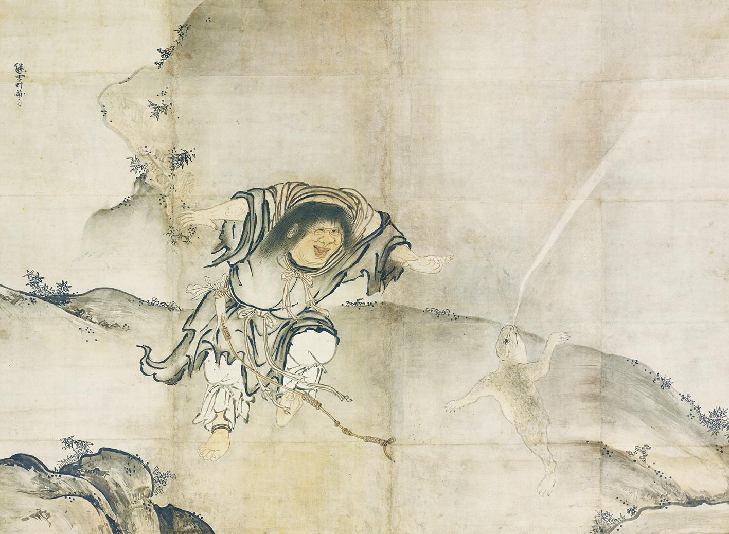 雪村筆 《蝦蟇鉄拐図》(左) 2幅 各151.5×205.9cm 東京国立博物館蔵Image:TNM   Image Archives 【展示期間:3月28日~4月23日】
