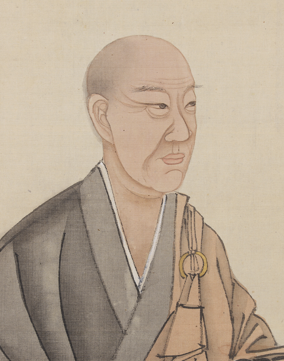 月僊「僧形立像(伝自画像)」部分 三重県立美術館蔵