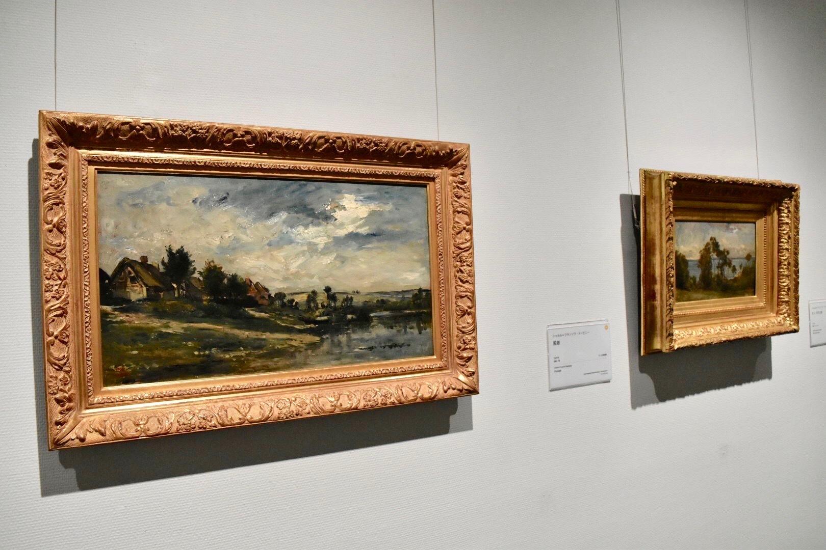 左:シャルル=フランソワ・ドービニー 《ポルトジョアのセーヌ川》 1868年頃 個人蔵