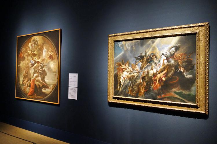 左よりルカ・ジョルダーノ《パトモス島の福音書記者聖ヨハネ》個人蔵/ペーテル・パウル・ルーベンス《パエトンの墜落》ワシントン、ナショナル・ギャラリー