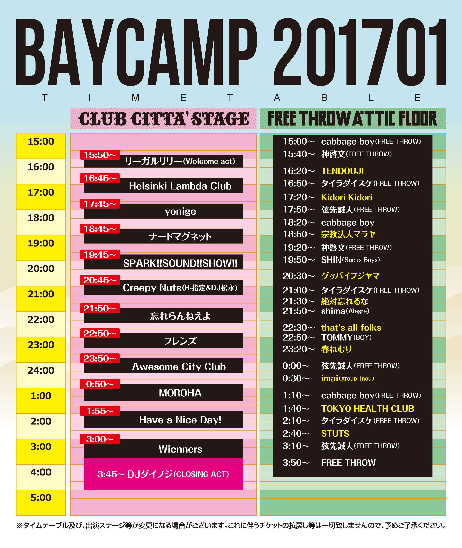 BAYCAMP 201701 タイムテーブル