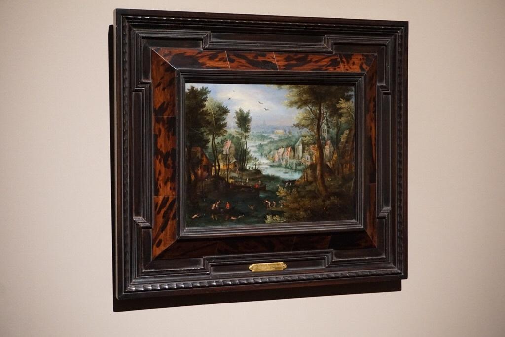 《水浴をする人たちのいる川の風景》ヤン・ブリューゲル1世  1595-1600年頃