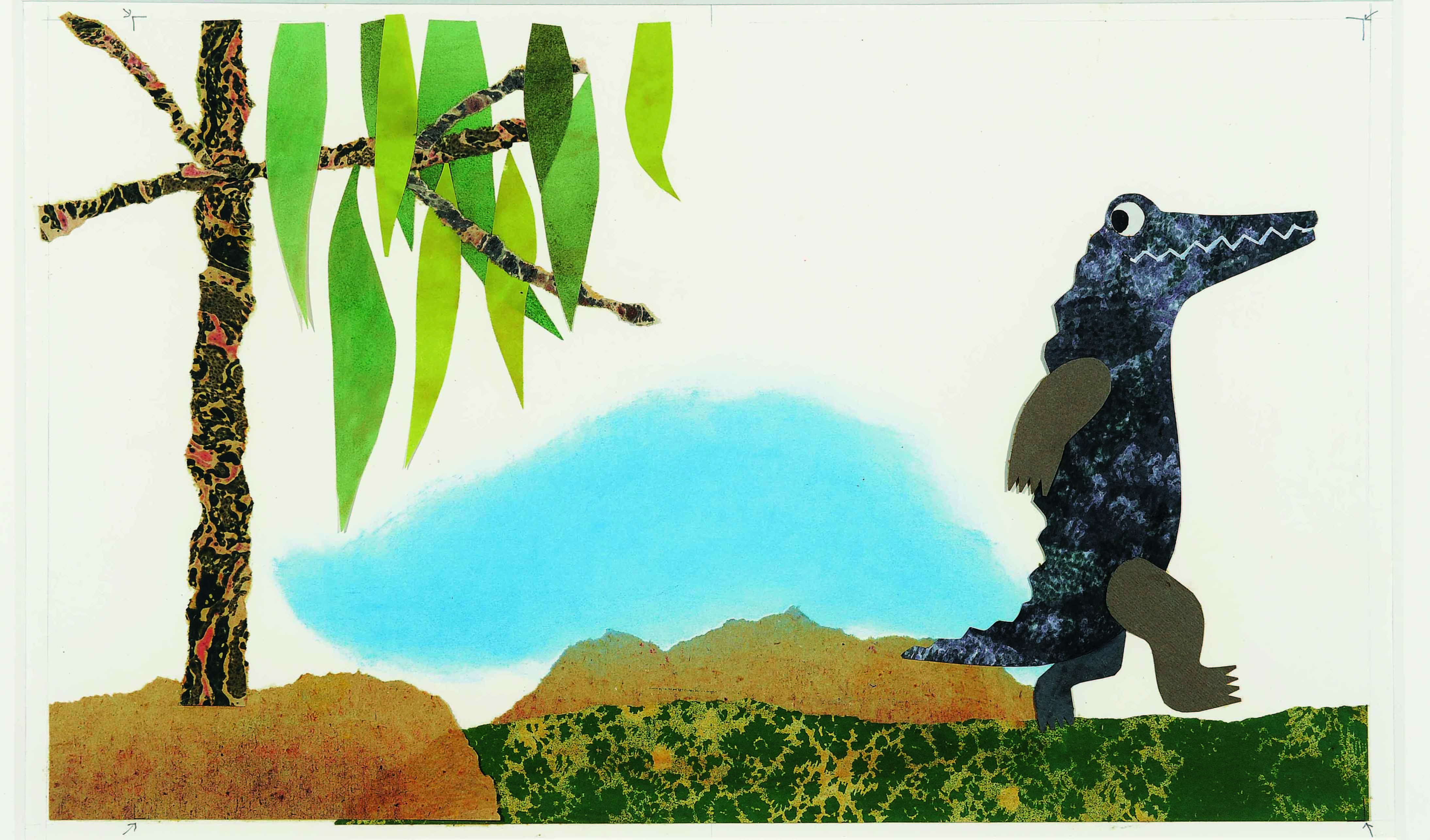 「コーネリアス」 1983年 水彩、パステル、コラージュ、紙 51×63.6cm Cornelius (C)1983 by  Leo Lionni / Pantheon Works by Leo Lionni, On Loan By The Lionni Family