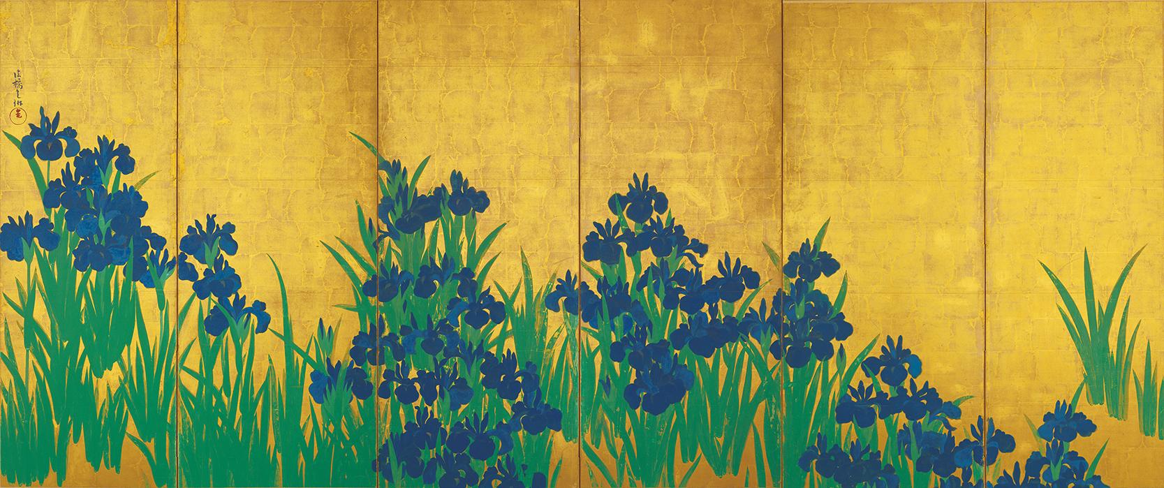 国宝 燕子花図屏風(左隻) 尾形光琳筆 江戸・18世紀 東京・根津美術館 11月14日~11月26日展示