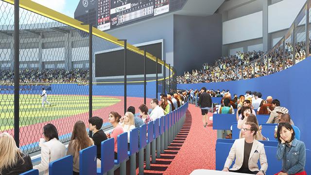 「ホームランラグーン」は外野席初のグラウンドにせり出した観客席となる