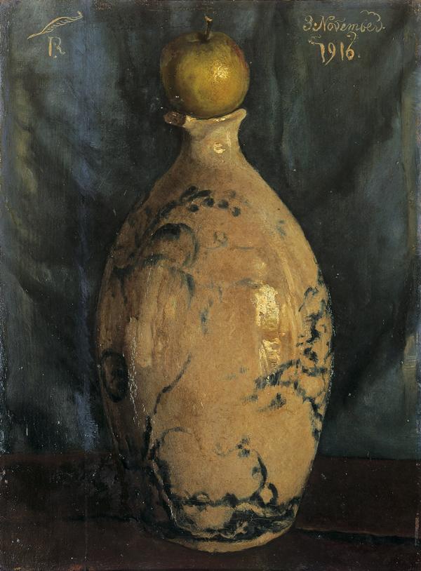 《壺の上に林檎が載って在る》1916年11月3日 油彩・板 東京国立近代美術館蔵