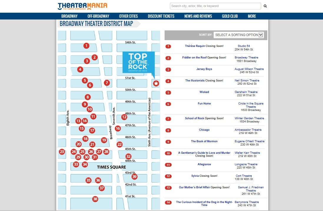 theatermania.com劇場MAPページのスクリーンショット