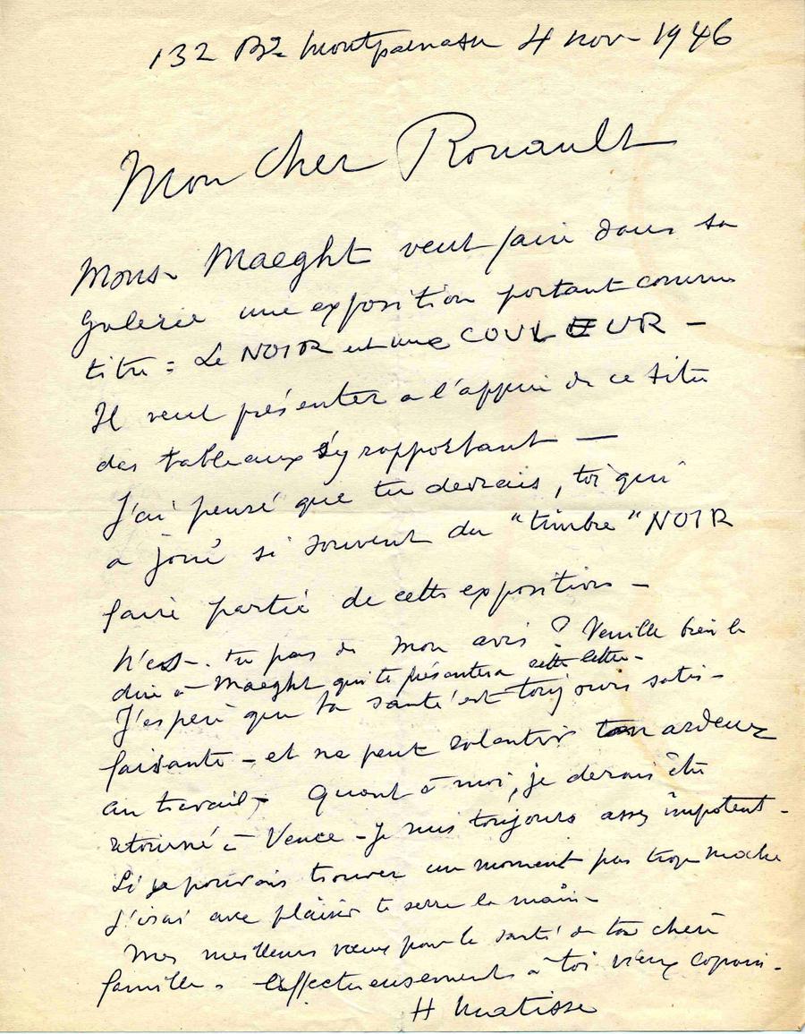 《マティスからルオーへの書簡、1946年11月4日》/ジョルジュ・ルオー財団、パリ