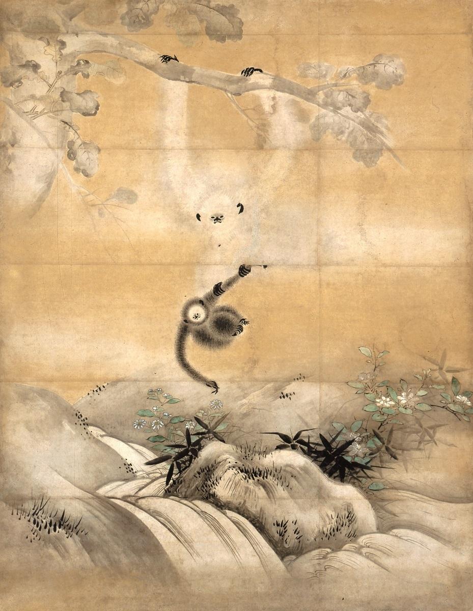 柏に猿図(右隻) 海北友松筆 サンフランシスコ・アジア美術館(米国) 桃山時代 16世紀 通期展示     Photograph ©Asian Art Museum of San Francisco