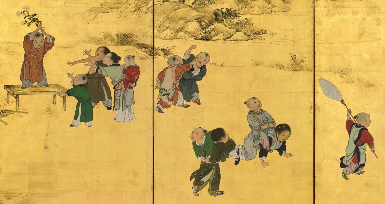 横山華山《唐子図屛風》左隻部分 文政9(1826)年 個人蔵