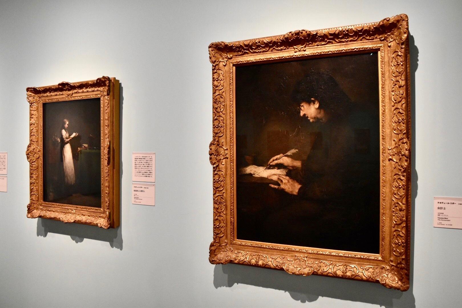 右:テオデュール・リボー 《会計士》 1878年頃 油彩、カンヴァス (C)CSG CIC Glasgow Museums  Collection 左:テオデュール・リボー 《勉強熱心な使用人》 1871年頃 油彩、カンヴァス (C)CSG CIC Glasgow Museums Collection