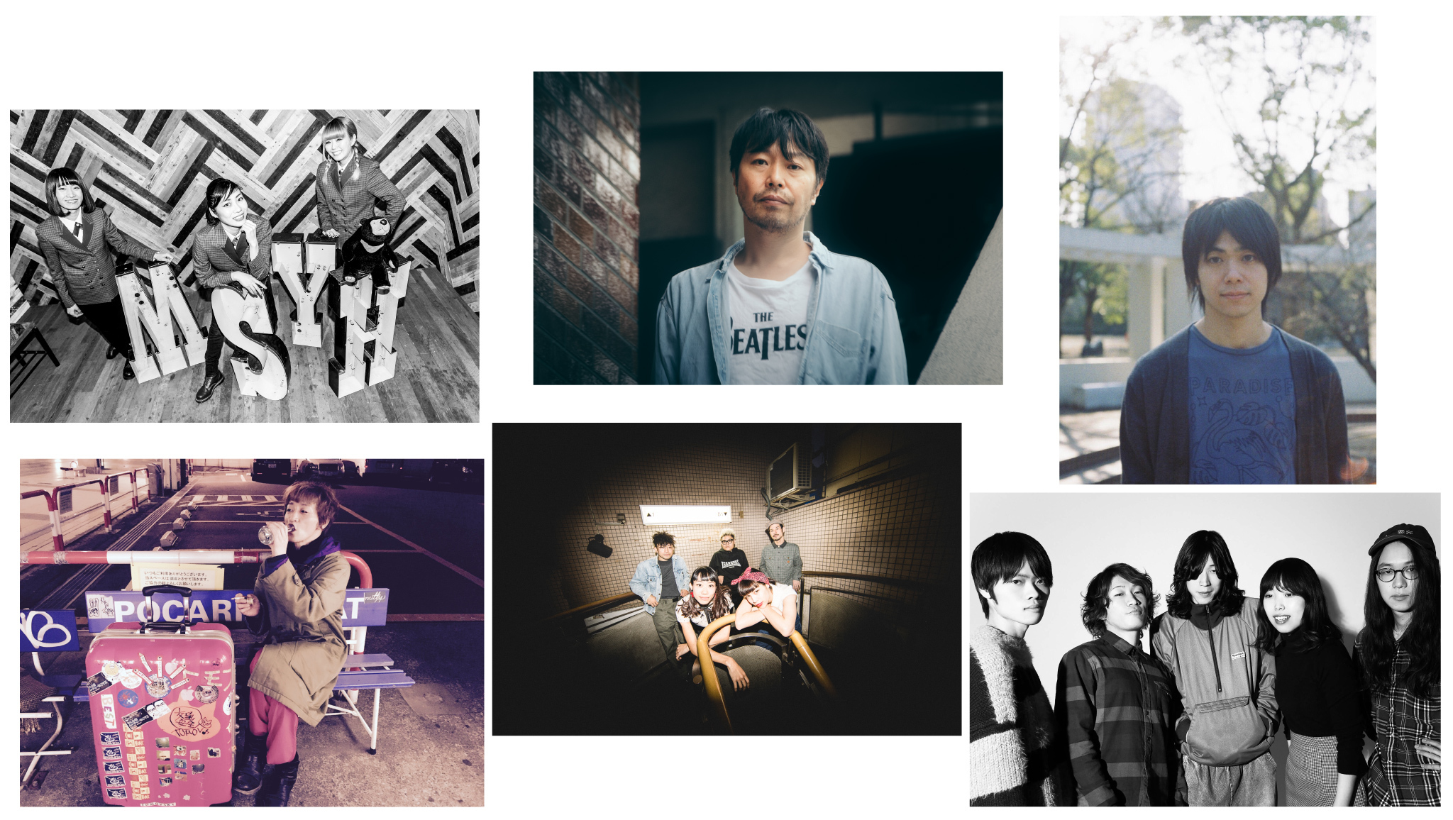 THE STEPHANIES/曽我部恵一/小山田壮平/キイチビール&ザ・ホーリーティッツ/LEARNERS/TOMOVSKY(左上から時計回り)